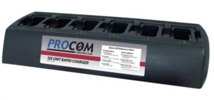 PROCOM SIX-UNIT CHARGER WITH EXTERNAL POWER SUPPLY